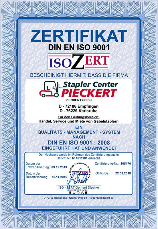 Wir sind zertifiziert | Stapler Center Pieckert